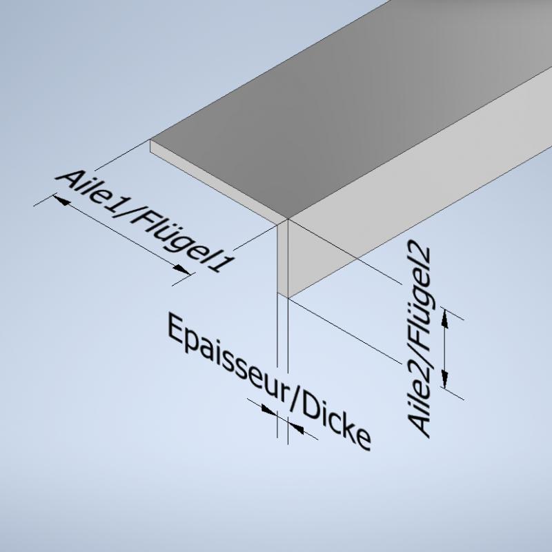 Profil équerre à aile inégale aluminium