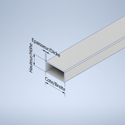 Tube rectangulaire aluminium